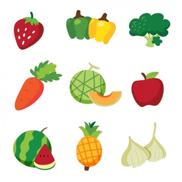 Фрукты и овощи дизайн Бесплатные векторы