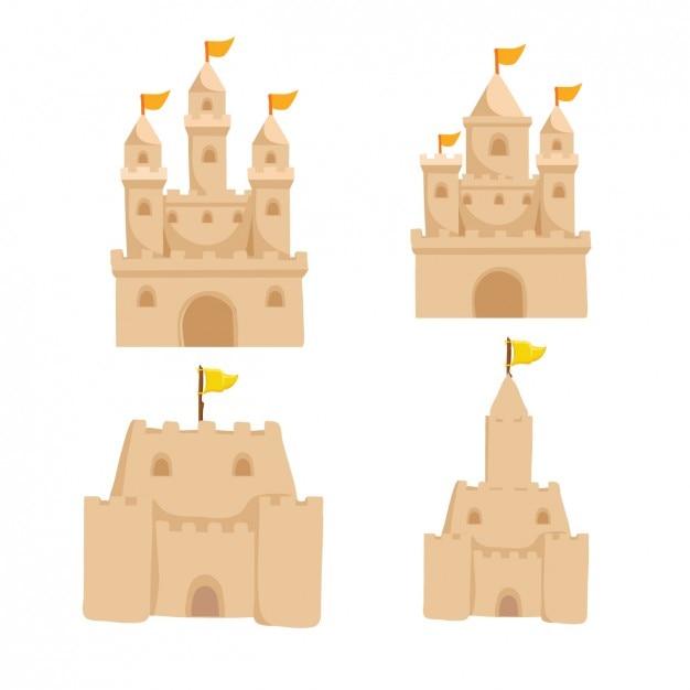 砂の城を設定します 無料ベクター