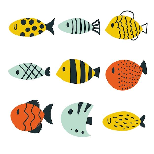 魚コレクションベクターデザイン Premiumベクター