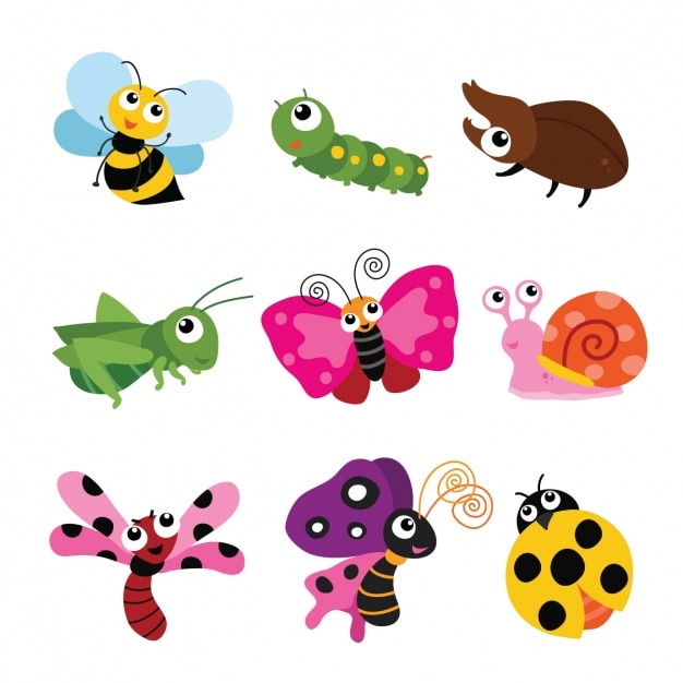 色とりどりの昆虫コレクション 無料ベクター