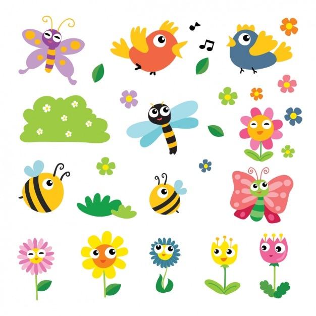 Коллекция весна элементы Бесплатные векторы