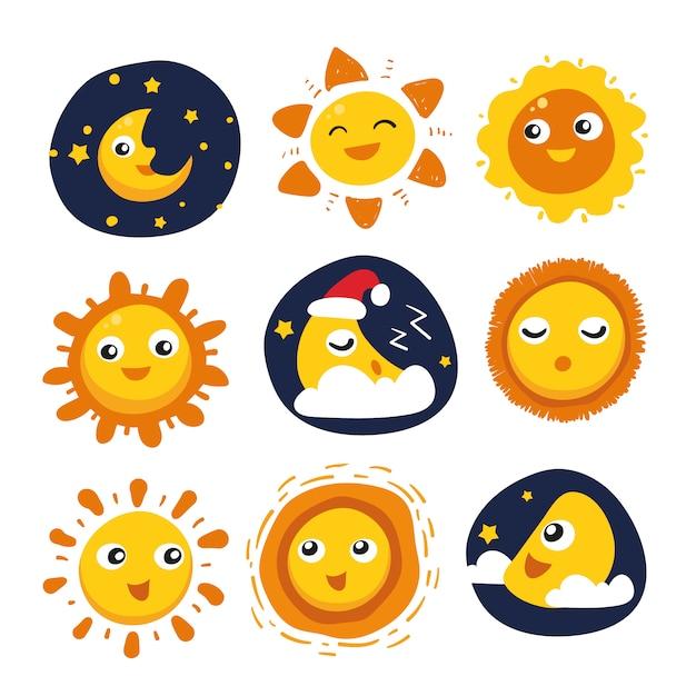 太陽と月のデザインコレクション 無料ベクター