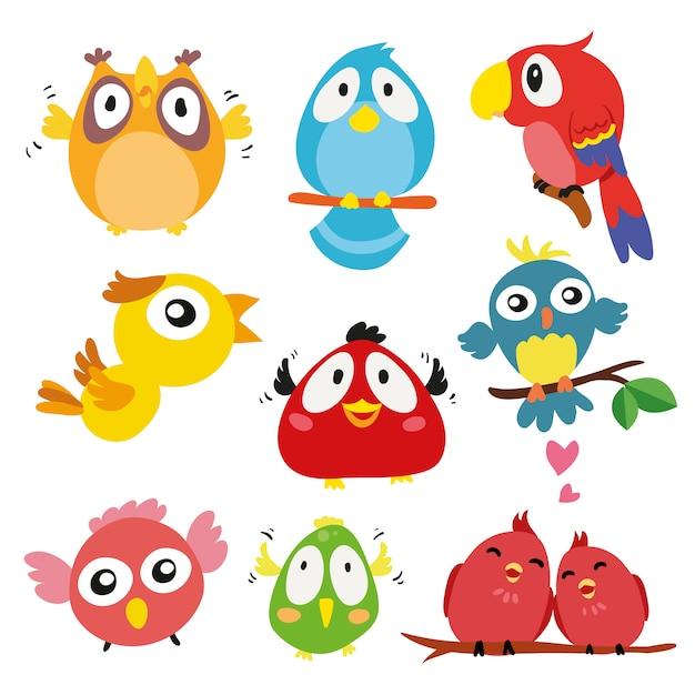 手描きの鳥のコレクション 無料ベクター