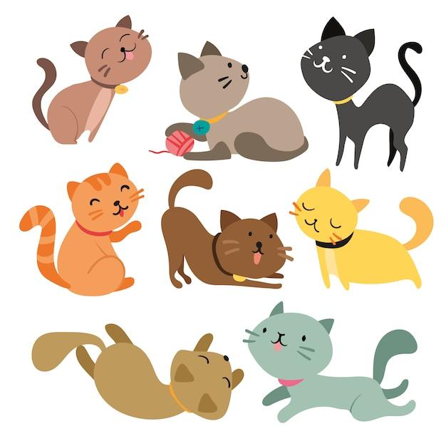 Коллекция цветное кошек Бесплатные векторы