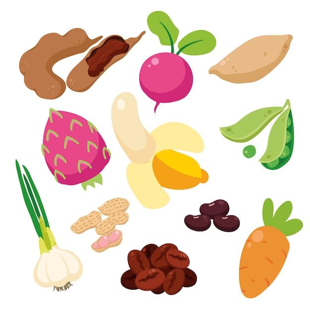 色とりどりの野菜コレクション 無料ベクター