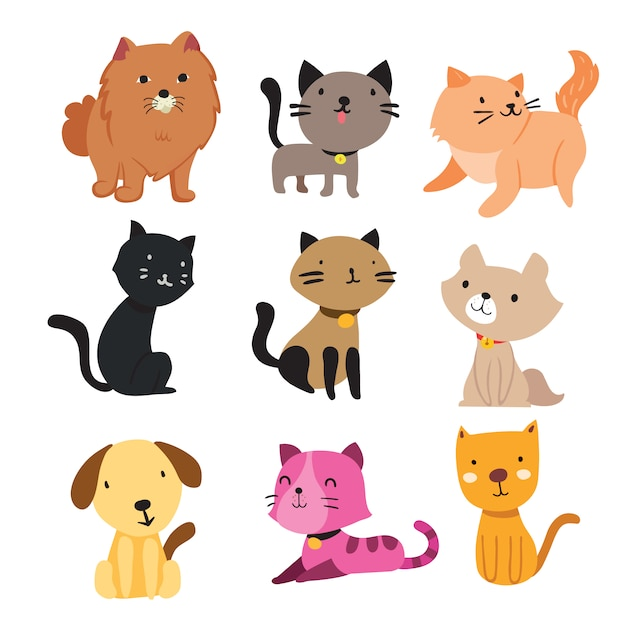 猫と犬のコレクション 無料ベクター
