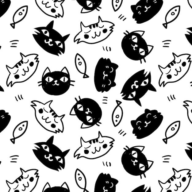 картинка много котиков черно белая предлагает