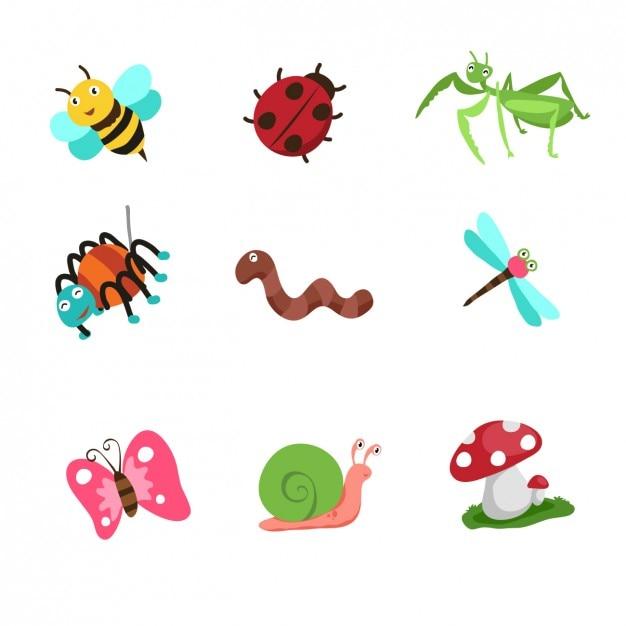 Коллекция насекомых мультфильм Бесплатные векторы