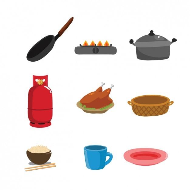 Цветная коллекция кухонных принадлежностей Бесплатные векторы