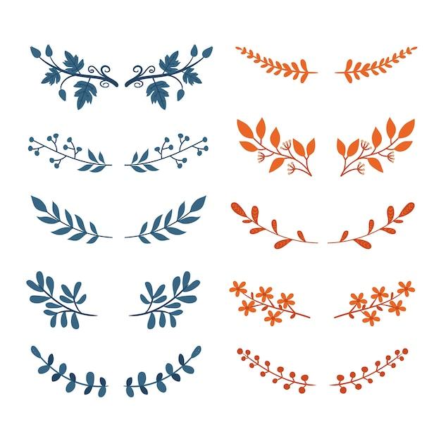 Коллекция декоративных ветвей Бесплатные векторы