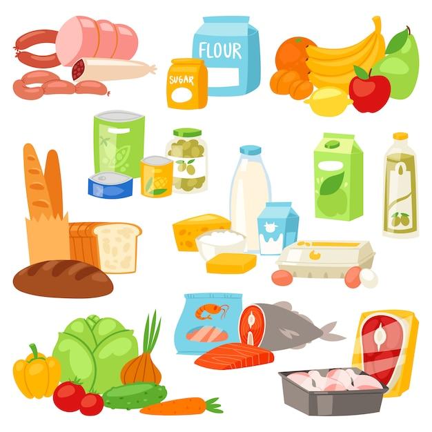 Пищевая мука ассорти из овощей или фруктов и рыбы или колбас из супермаркета Premium векторы