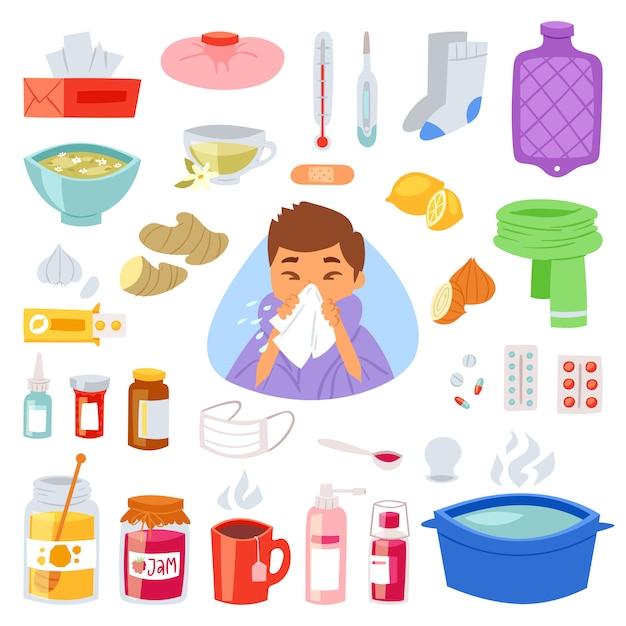 インフルエンザと発熱と病気と病気とくしゃみの鼻のイラストセット病気と医療の兆候と薬 Premiumベクター