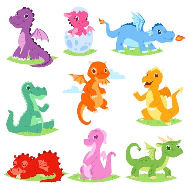 白い背景の上の子供のおとぎ話からの恐竜キャラクターの漫画ドラゴンかわいいトンボまたは赤ちゃん恐竜イラストセット Premiumベクター