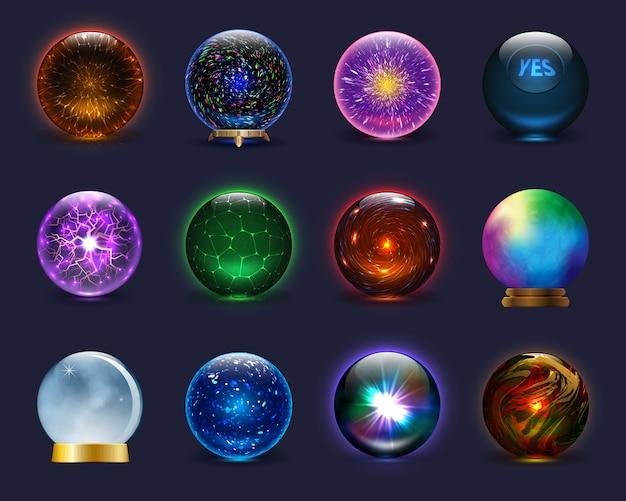 Магический шар волшебный кристалл стеклянный шар и блестящая молния прозрачный шар в качестве предсказания предсказателя иллюстрации великолепный набор на фоне Premium векторы