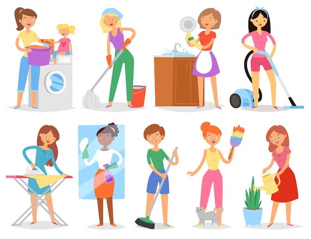 Домохозяйка женщина уборка и проведение дома в чистоте с пылесосом и стиральной машиной или утюгом иллюстрации Premium векторы