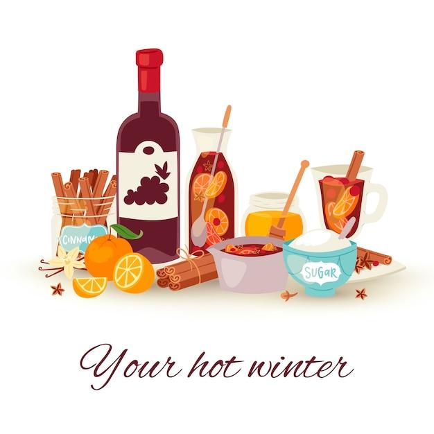 ホットワインの冬、ホットドリンクベクトルイラスト。スパイスアニス、柑橘系の果物、シナモンの冬の休日の飲み物とのマルドワインカクテル。アルコールワインボウルのグラスとボトル。 Premiumベクター
