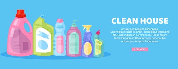 Чистый дом, надпись на ярком знамени, внутренняя работа по дому, реклама домашнего хозяйства, в иллюстрации шаржа. Premium векторы