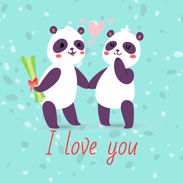 Панды пара в любви баннер, открытки. я люблю тебя животных, держась за руки. летающие сердца. день святого валентина персонаж прячет бамбуковый подарок девушке Premium векторы