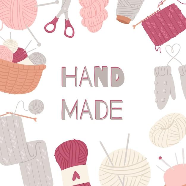 編み物と縫製の芸術品や工芸品のフレームは、白で隔離。 Premiumベクター