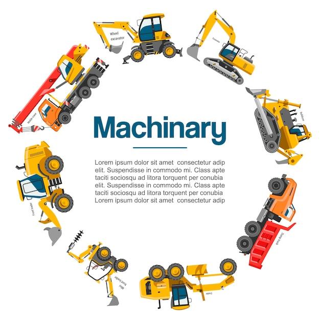 Машины и строительное оборудование автомобилей плакат. Premium векторы