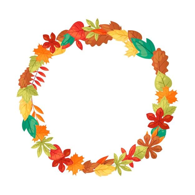 秋の葉のバナーの背景。緑、オレンジ、茶色、黄色の落ち葉。カラフルなメープル、栗、オークの葉。 Premiumベクター
