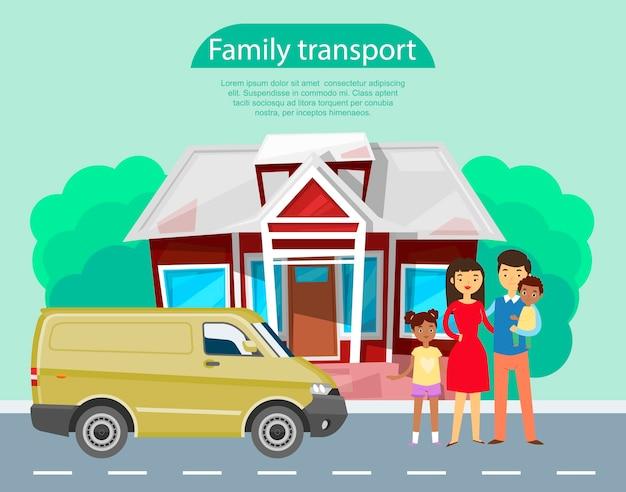 ミニバン車輸送テンプレートの近くに立っているアフリカの子供たちと若い家族 Premiumベクター