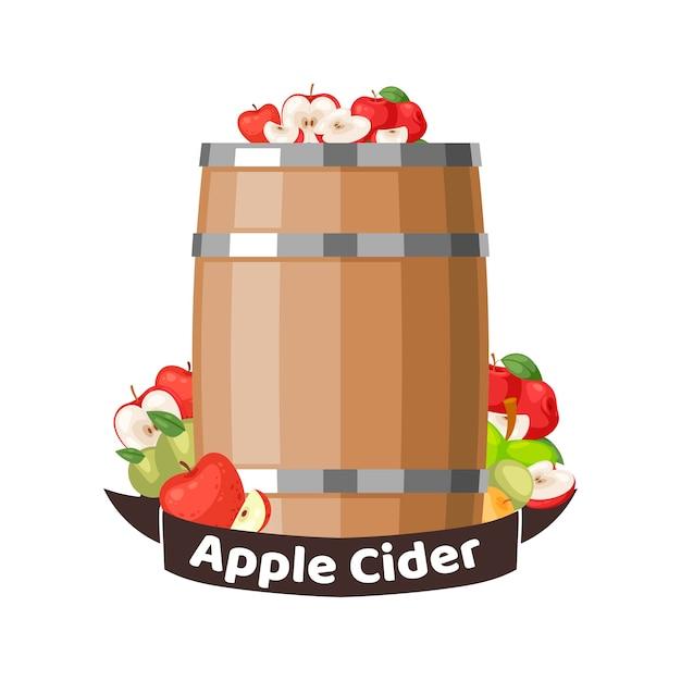 秋のリンゴサイダーバレル Premiumベクター