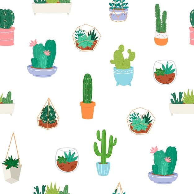 異なるサボテン、陶器と多肉植物の緑の植物とのシームレスなパターンベクトル。 Premiumベクター