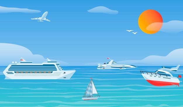 海のボートと小さな漁船。ヨットフラットベクトルの背景 Premiumベクター