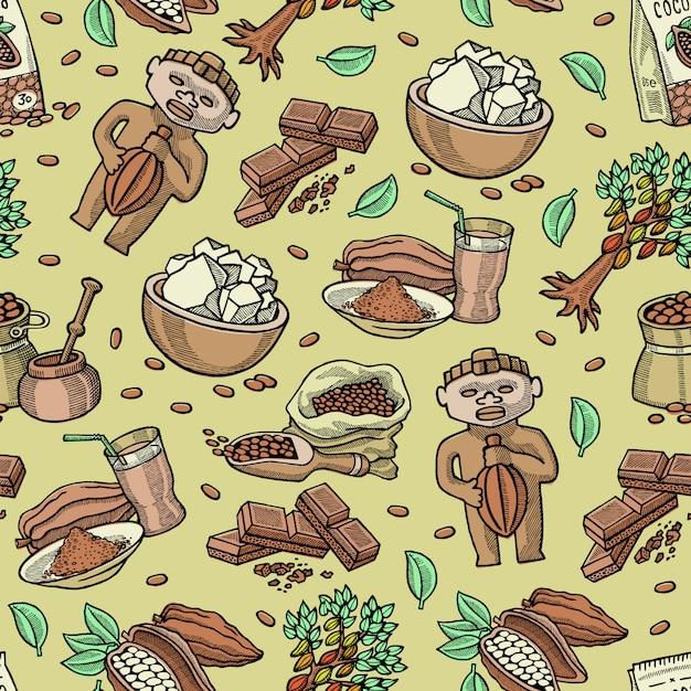 トロピカルフルーツと飲料ドリンクの背景のチョコカカオパウダーのココ豆ココアツリーイラスト背景からココアシームレスパターン漫画チョコレート甘い食べ物 Premiumベクター