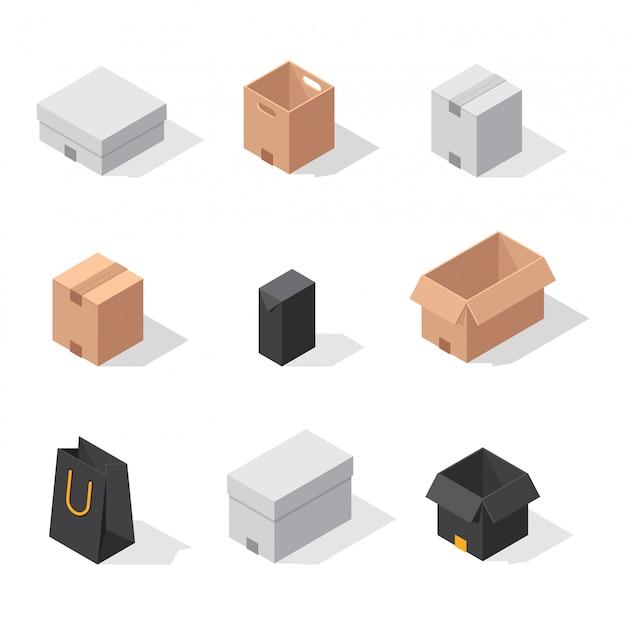 Различные коробки векторные иконки Premium векторы
