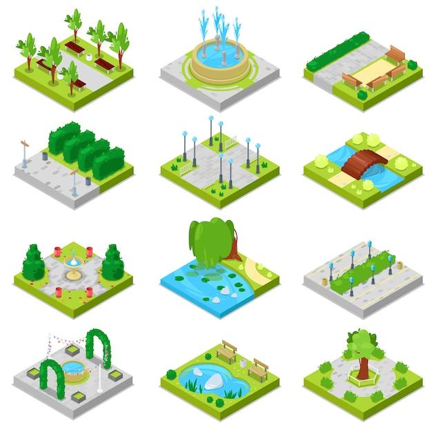 緑豊かな庭園の木々と噴水または白い背景で隔離の都市景観における等尺性パークウェイの都市図セットの池のある公園の公園風景 Premiumベクター