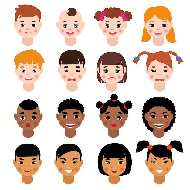 子供の肖像画ベクトル子供キャラクターの女の子や男の子の顔の髪型と漫画の人が白いスペースで分離された子供の顔の特徴の様々な肌のトーンイラストセット Premiumベクター