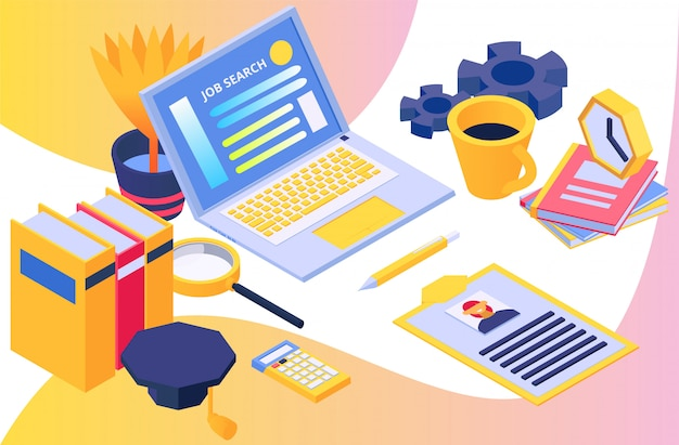 人材、コンセプト求人検索、等角投影図のベクトル図を検索します。ビジネス、ラップトップ、人事、職場のデザイン。 Premiumベクター