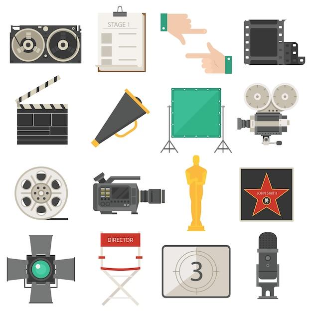 映画館映画作成ツール機器セット Premiumベクター