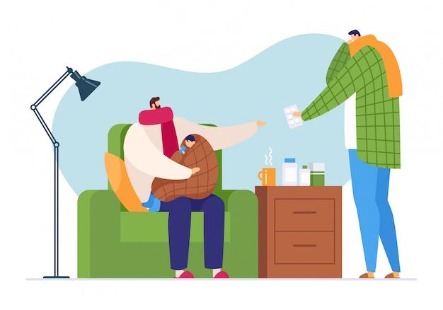 Характер гриппа больной на доме семьи, иллюстрации. человек заботится о больном ребенке с простудой, медицинской помощью таблеток. Premium векторы