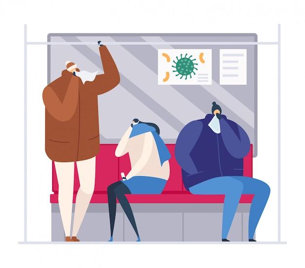 Люди в метро во время сезонного гриппа, иллюстрации. взрослый мужчина женщина с вирусом простуды, больной толпы чихать. мультфильм человек Premium векторы