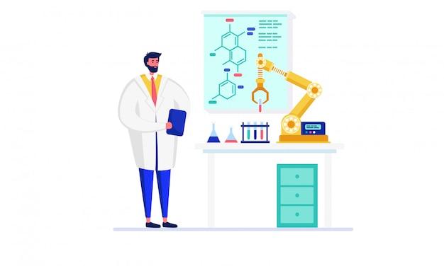 イノベーション研究室イラスト、白のロボットを使用して実験を行う漫画ドクターキャラクターの科学者 Premiumベクター