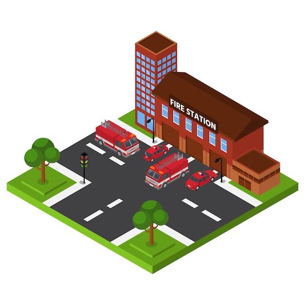 等尺性消防署、救急部の建物、赤いトラックのレスキューサービス、デザイン、漫画のスタイルのイラスト。 Premiumベクター