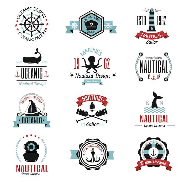 Мода морской логотип парусник тематическая этикетка Premium векторы