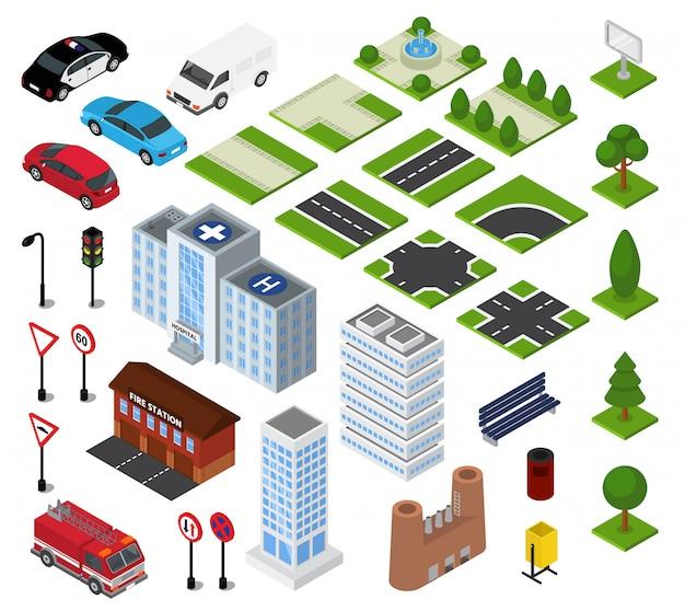 Город изометрические вектор городской городской пейзаж с архитектурой здания или строительство на улице города Premium векторы