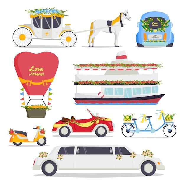 結婚式ファッション輸送伝統的な自動車高価なレトロな儀式花嫁輸送とロマンチックな新郎結婚美愛自動車セット Premiumベクター