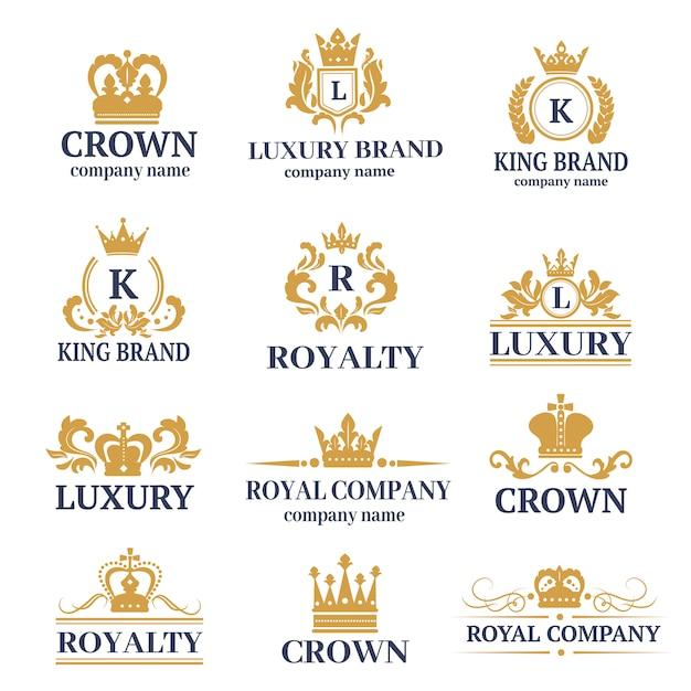 ホテルブランドアイデンティティの高級ブティック書道ロゴセット Premiumベクター