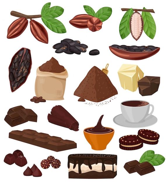 トロピカルフルーツと飲み物と白い背景で隔離のビスケットのカカオパウダーのカカオ豆ケーキ菓子イラストセットからチョコレート漫画ココアチョコ甘い食べ物 Premiumベクター