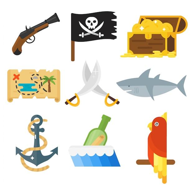 Сокровища пиратских приключений игрушечных аксессуаров установлены. Premium векторы
