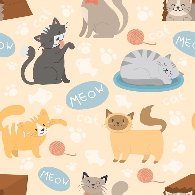 かわいい猫キャラクターの異なるポーズベクターのシームレスパターン Premiumベクター