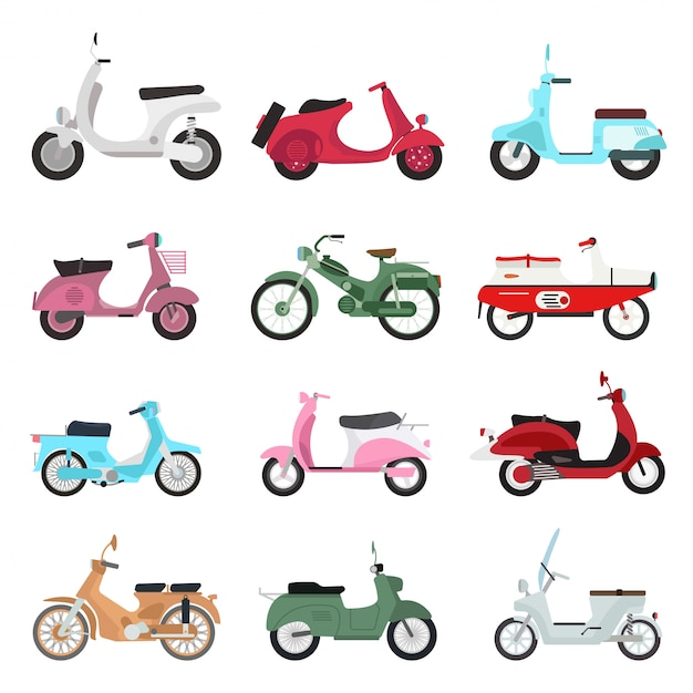 Набор ретро скутер. Premium векторы