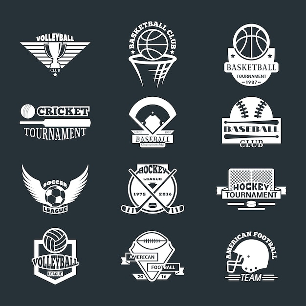 スポーツチームのロゴバッジセット。 Premiumベクター