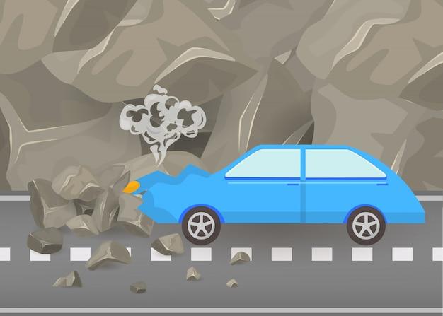 車のクラッシュと道路上の事故はベクトルイラストです。山と灰色の岩のポスターの中でカーシュ車の破損して壊れた自動車シーン。 Premiumベクター