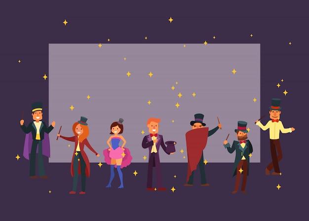 劇場やサーカスの魔術師漫画キャラベクトルイラスト。魔法のウォーロックと魔法の魔法使い、帽子とマントルの男性と女性の魔術。 Premiumベクター